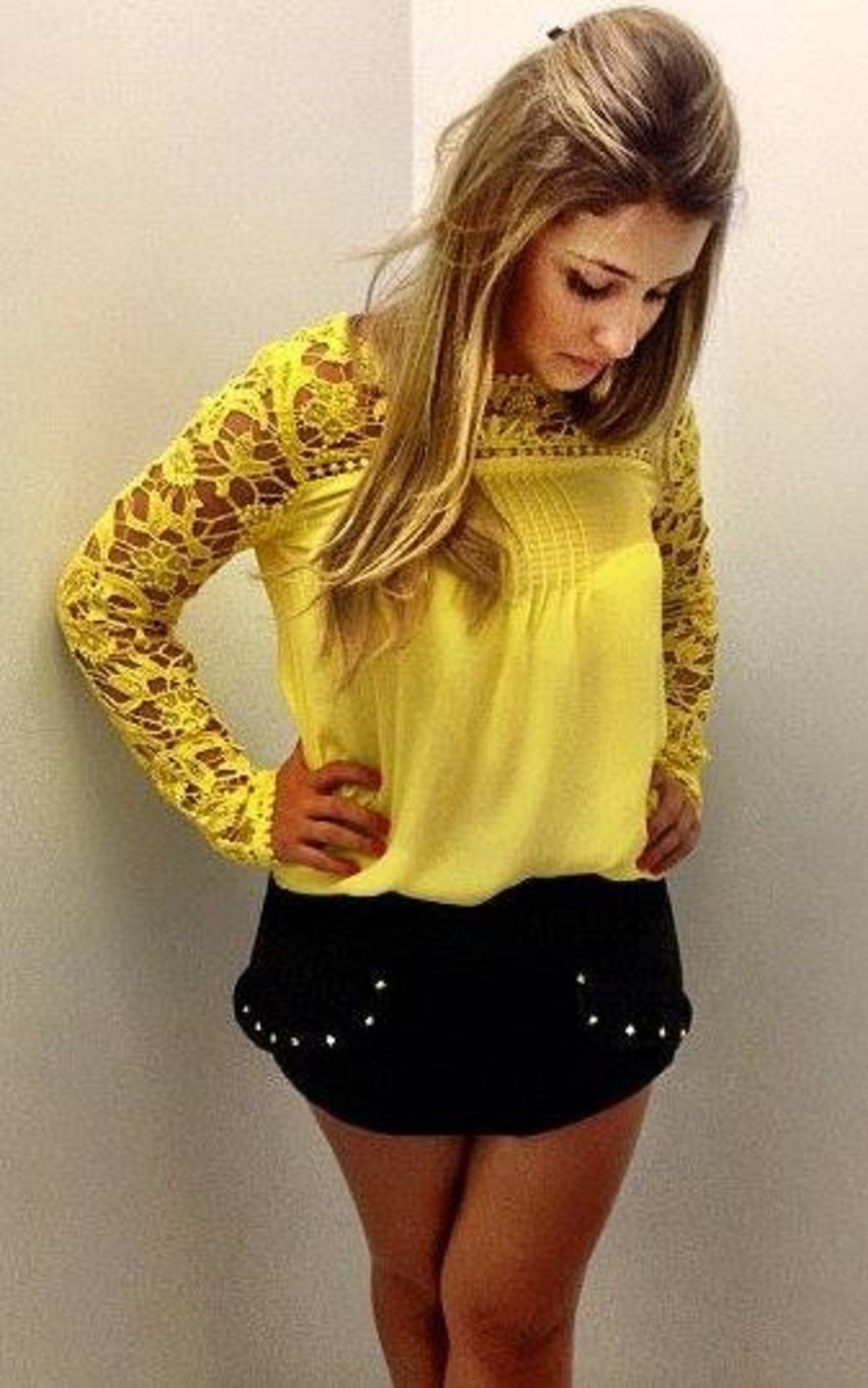 blusa de renda amarela 4