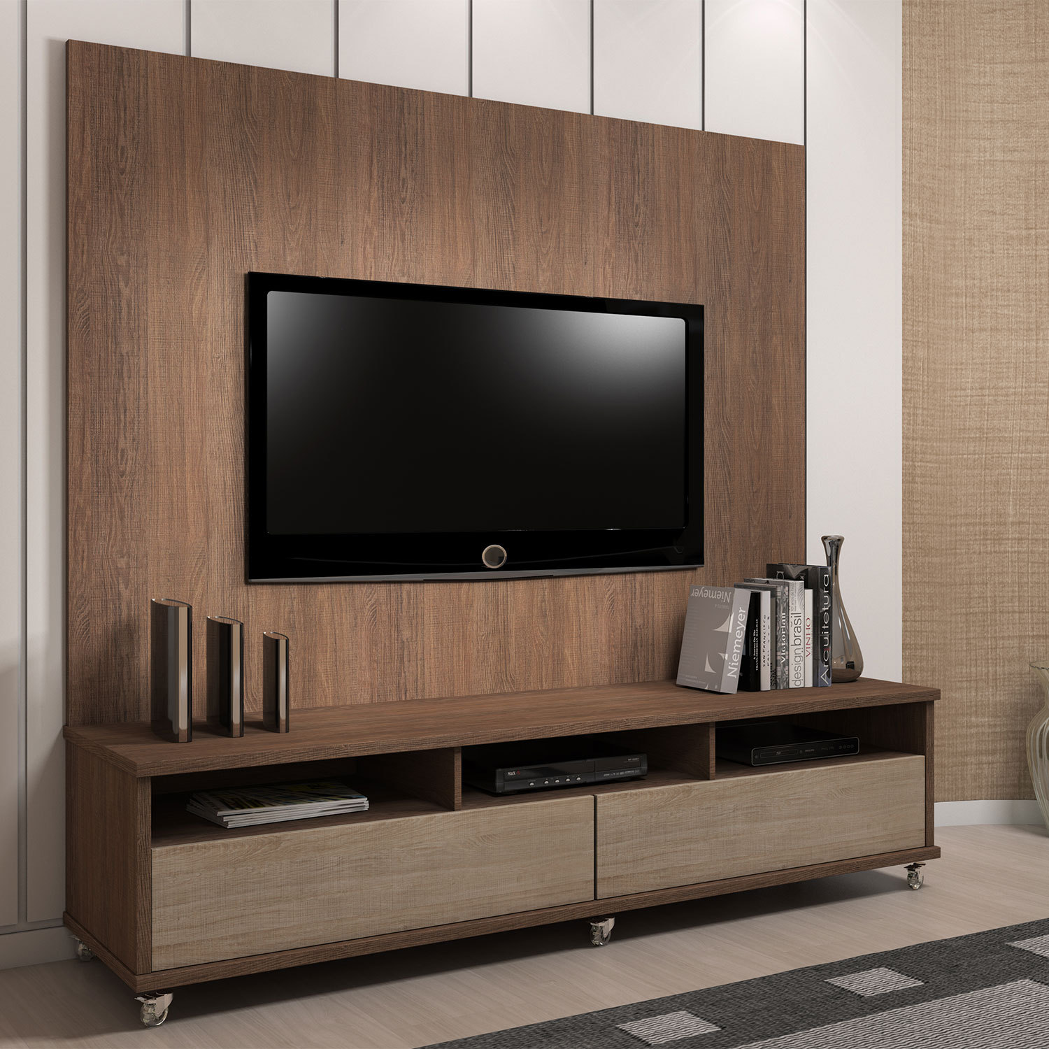 um lindo rack para tv mudo o visual tem fotos aqui. Black Bedroom Furniture Sets. Home Design Ideas