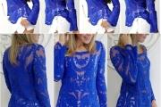 blusa azul royal com renda 2