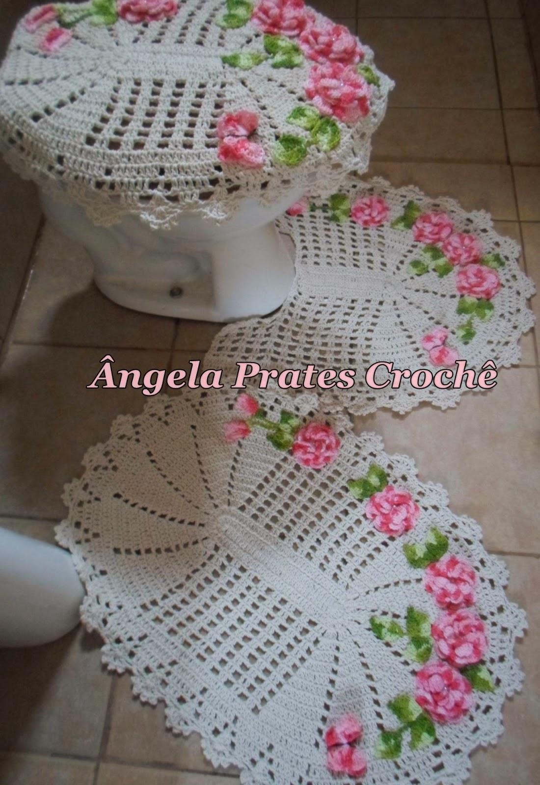 Jogo de banheiro com crochê maravilhosos modelos Revista das  #884358 1100x1600 Banheiro Com Vista Para Jardim