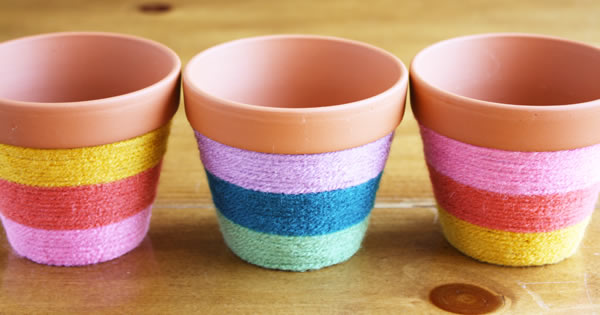 Resultado de imagem para vaso decorado com lã