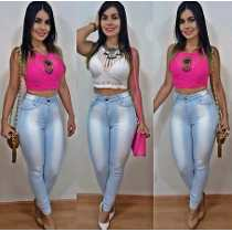 calca cintura alta jeans claro