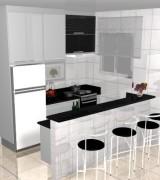 cozinha planejada simles em preto e branco