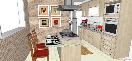 cozinha planejada simples com bancada